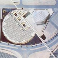 Η γυάλινη οροφή του κτιρίου της Βιβλιοθήκης της Αλεξάνδρειας που επιτρέπει να διαχέεται το φως στους χώρους της.